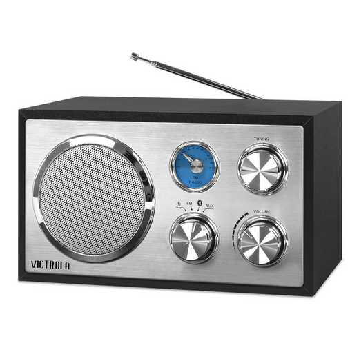 VRS-2400-BLK: IT Victrola Wooden Desktop Bluetooth Radio, Black