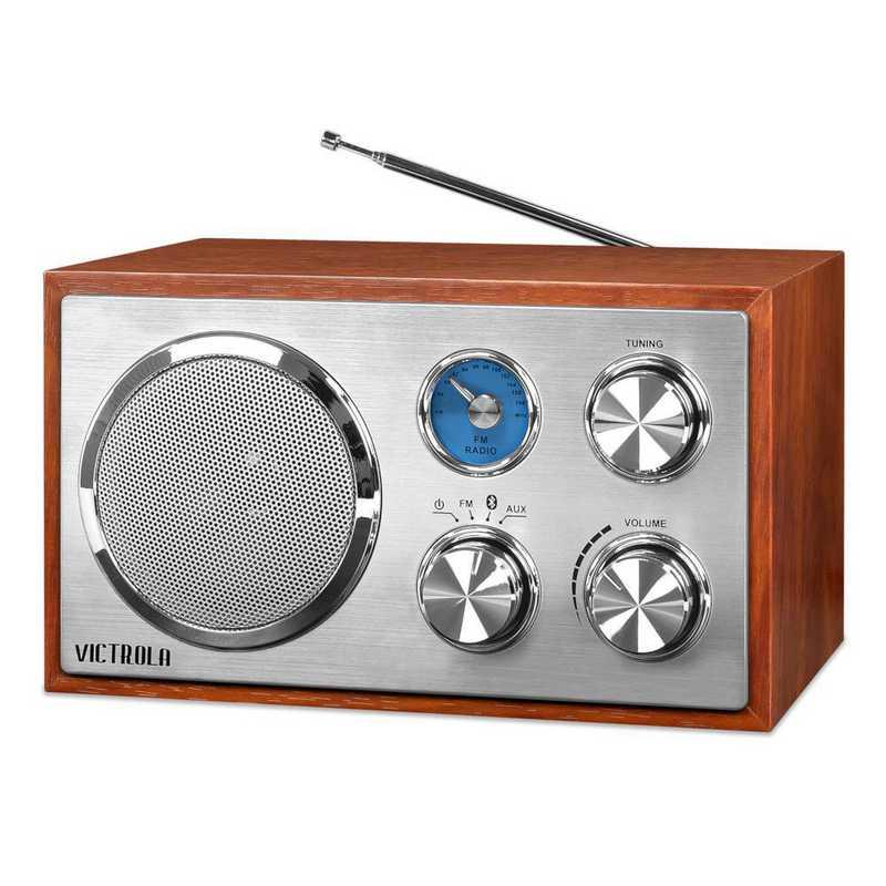 VRS-2400-MAH: IT Victrola Wooden Desktop Bluetooth Radio, Mahogany