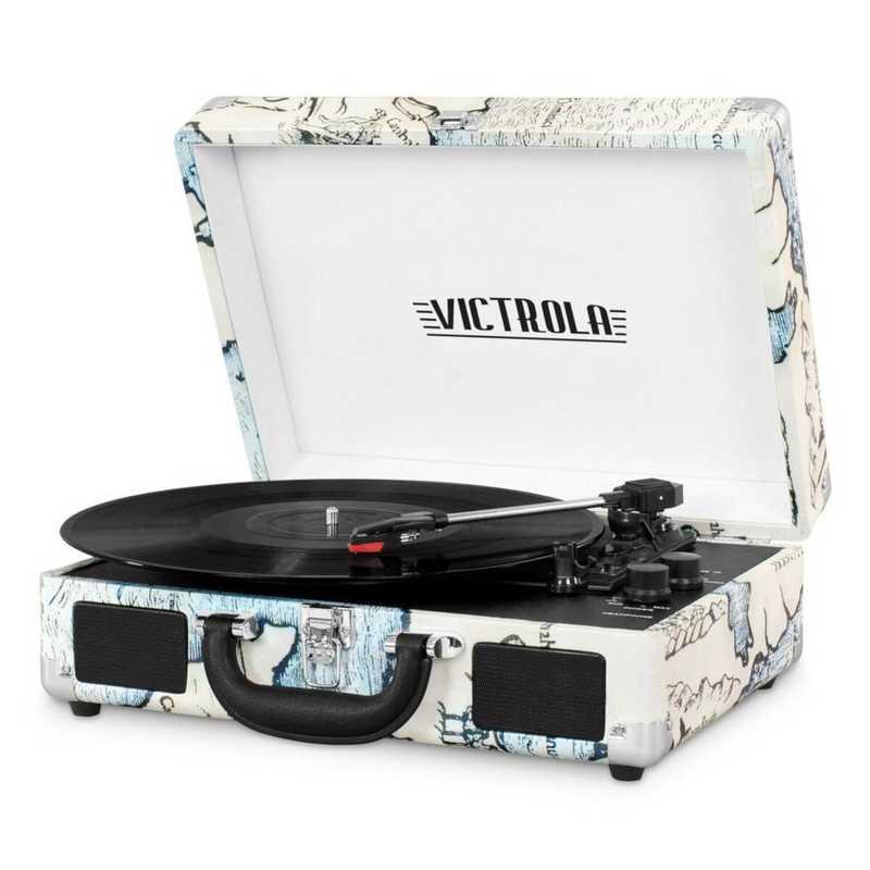 VSC-550BT-P4: IT Victrola BT Suitcase Record Player, Tan (Map)