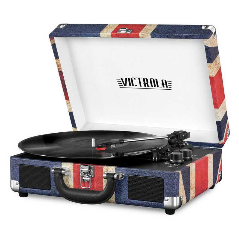 VSC-550BT-UK: IT Victrola BT Suitcase Record Player, Red (UK Flag)