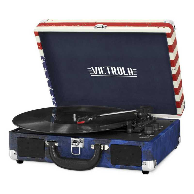VSC-550BT-USA: IT Victrola BT Suitcase Record Player, Red (USA Flag)