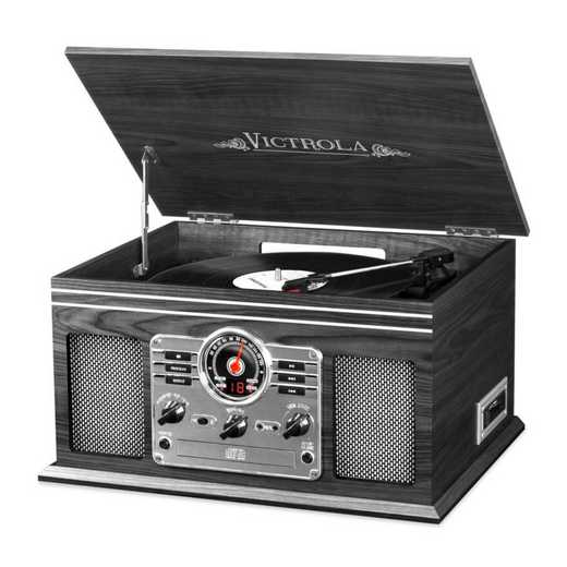 VTA-200B-GRY: IT Victrola 6-in-1 Nostalgic BT Record Player/ TT, Grey