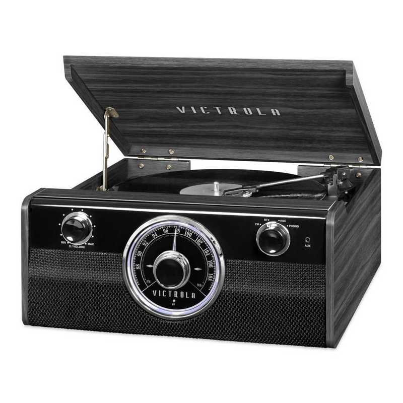 VTA-240B-GRY: IT Victrola Wood BT Mid Cent Record Player, Grey