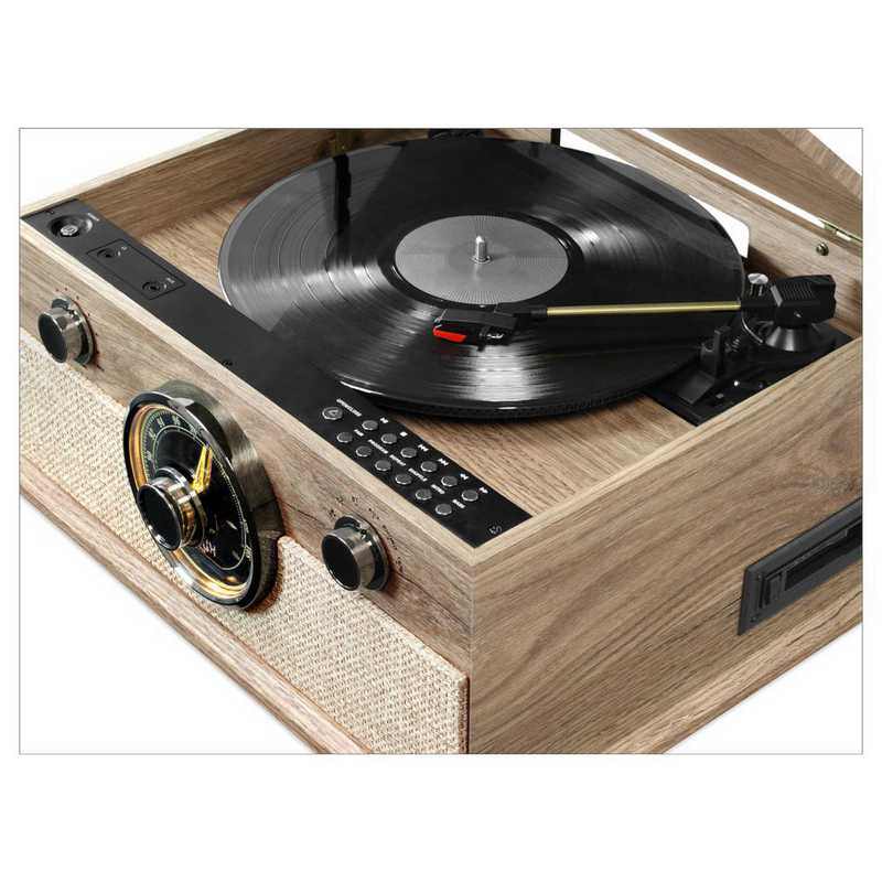 Victrola 6-in-1 Brookline Bluetooth Record Player with 3-Speed  Turntable-CD-Cassette Player-Radio