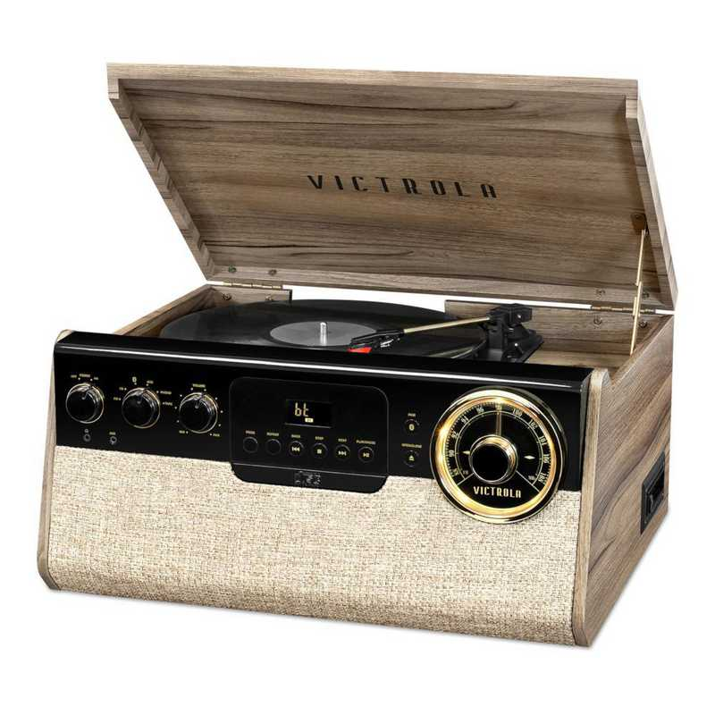 VTA-290B-FNT: Victrola 6-in-1 Bluetooth Record Player-CD-Cassette-AM/FM