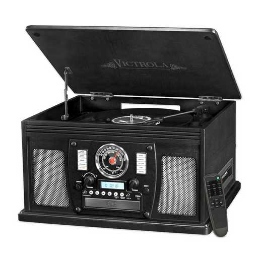 VTA-600B-BLK: IT Victrola Wood 8-in-1 Nostalgic BT Record Player, Black