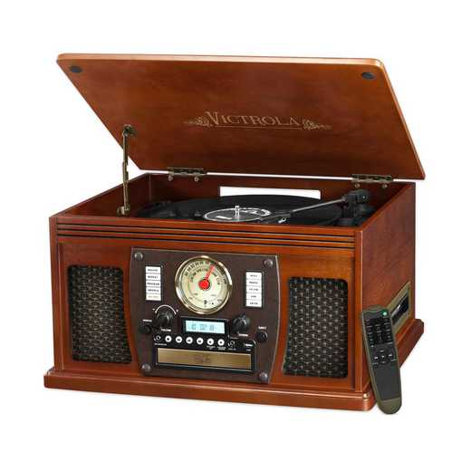 VTA-600B-MAH: IT Victrola Wood 8-in-1 Nostalgic BT Record Player, Mahogany