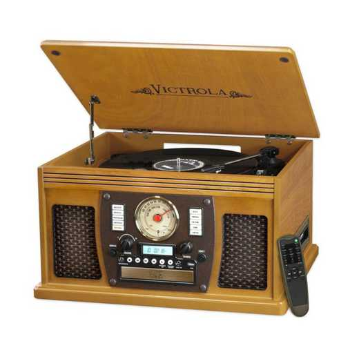 VTA-600B-OAK: IT Victrola Wood 8-in-1 Nostalgic BT Record Player, Oak