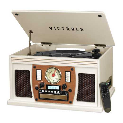 VTA-600B-WHT: IT Victrola Wood 8-in-1 Nostalgic BT Record Player, White