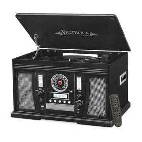 VTA-750B-BLK: IT Victrola Wood 7-in-1 Nostalgic BT Record Player, Black