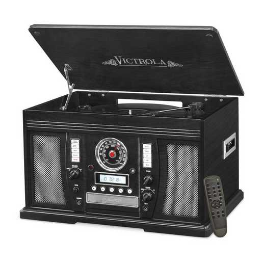 VTA-750B-BLK: IT Victrola Wood 7-in-1 Nostalgic BT Record Player, Black