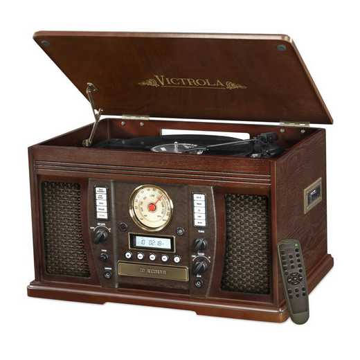 VTA-750B-ESP: IT Victrola Wood 7-in-1 Nostalgic BT Record Player, Expresso