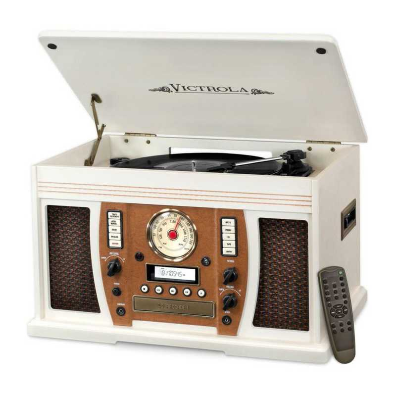 VTA-750B-WHT: IT Victrola Wood 7-in-1 Nostalgic BT Record Player, White