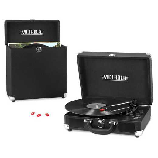VSC-52BT-BLK: IT Victrola Record Player Turntable-Storage-Needles-Blk