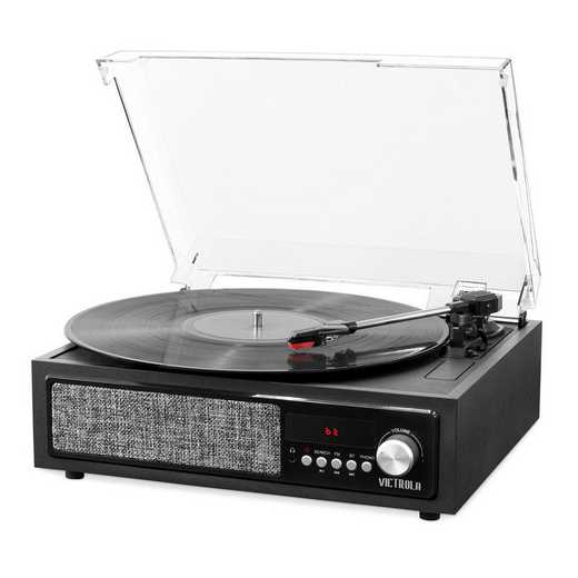 VTA-67-BLK: IT Victrola 3-in-1 BT Record Player Speak and Turn-BLK