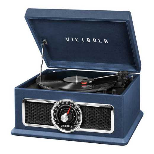 VTA-810B-BLU: IT Victrola's 4-in-1 BT RP with Turntable and FM -BLU
