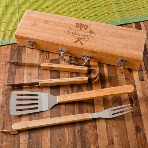 GC1477: Monogrammed Grilling BBQ Set W /Bamboo Case
