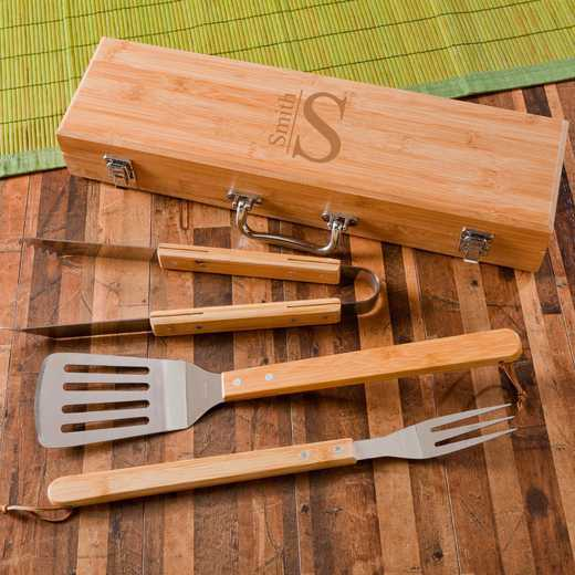 GC1477 MODERN: Monogrammed Grilling BBQ STW/Bamboo Case