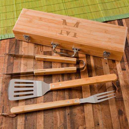 GC1477 STAMPED: Monogrammed Grilling BBQ STW/Bamboo Case