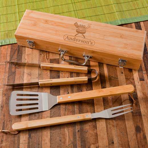 GC1477 STEAk: Monogrammed Grilling BBQ STW/Bamboo Case