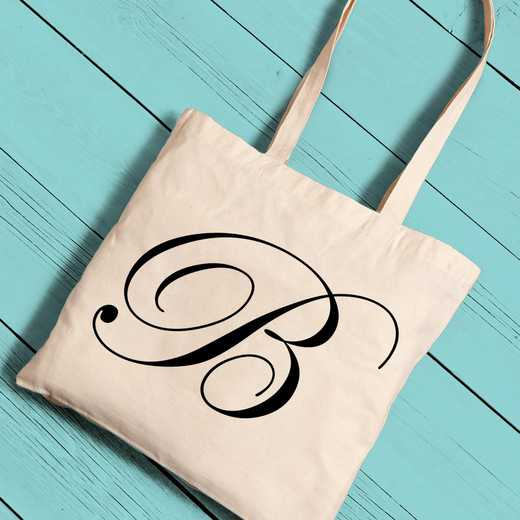 GC1258 BLACK: Personalized Initial Tote