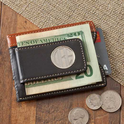 GC1262: Personalized Two - Toned Leather Magnetic Money Clip Wallet