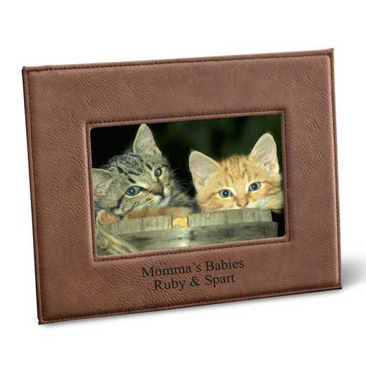 GC1361 DKBROWN: Personalized Leatherette 5x7 Picture Frame
