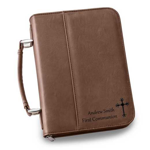 GC1441 DK Brown: Personalized Large Bible Case DK BRN