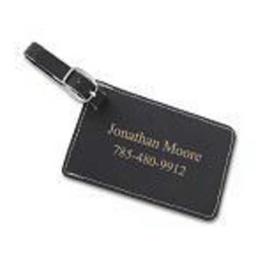 GC1564 Black : Personalized Leatherette Luggage Tag Black