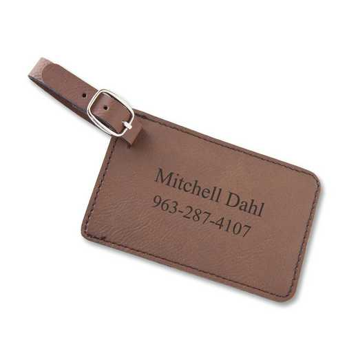 GC1564 Brown : Personalized Leatherette LuggageTag Brwn