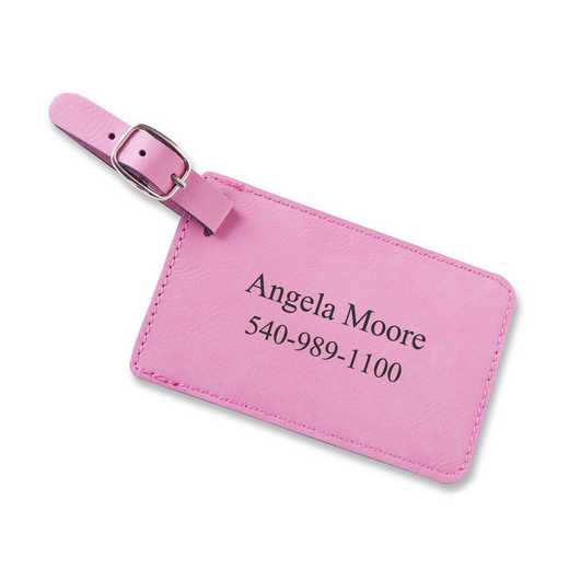 GC1564 Pink: Personalized Leatherette Luggage Tag Pnk