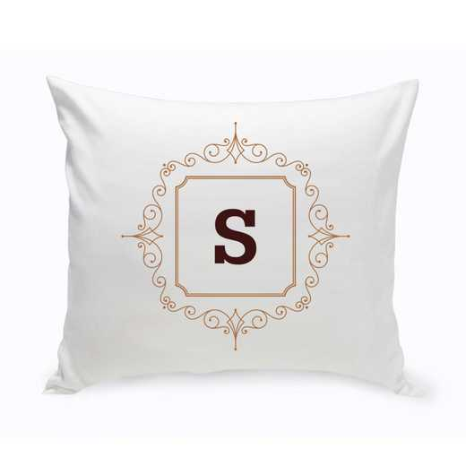 GC1471 BROWN: Personalized Initial Motif ThrowPillow