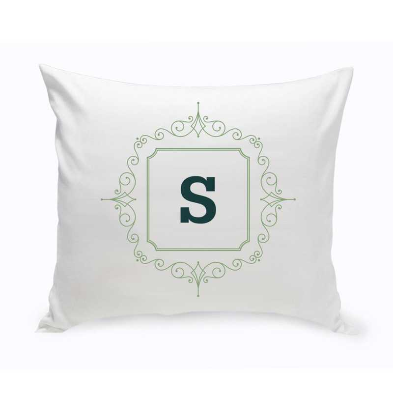 GC1471 SAGEGREEN: Personalized Initial Motif ThrowPillow