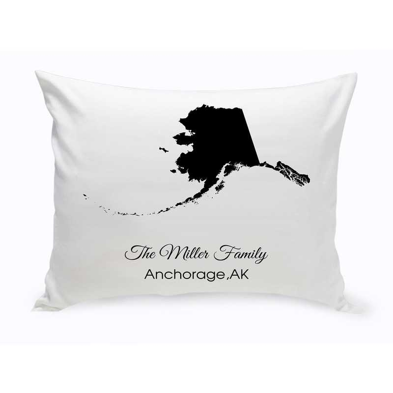 GC1380-AK: Blk Prsnlzed Home St.ThrowPillow Alaska