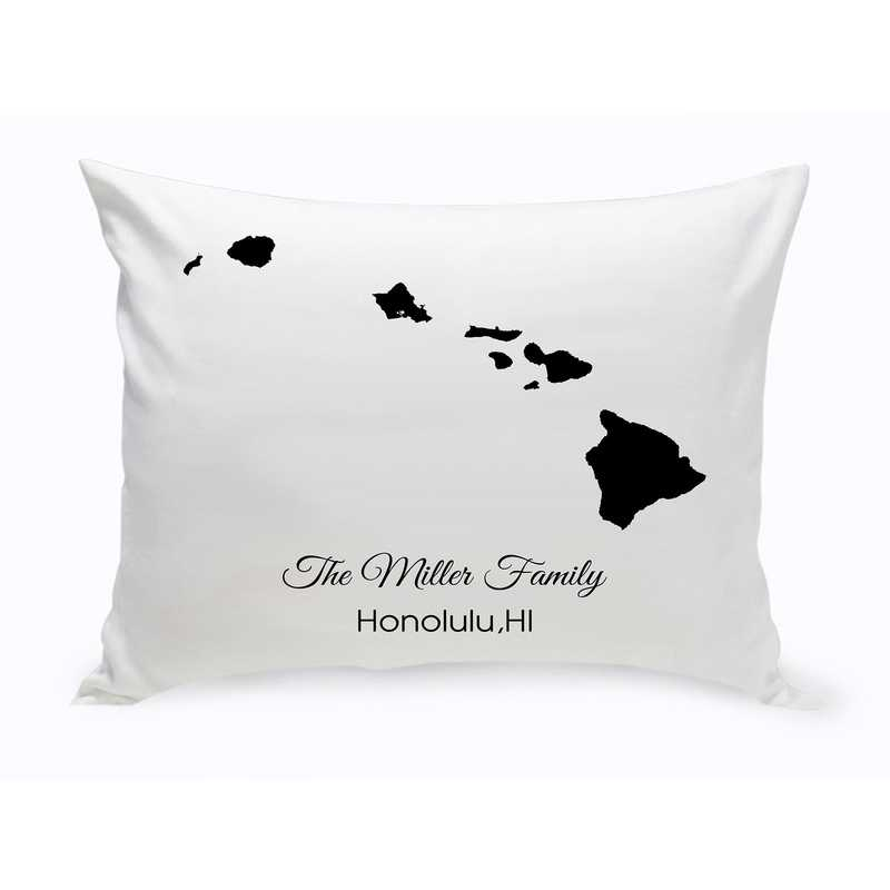 GC1380-HI: Blk Prsnlzed Home St.ThrowPillow Hawaii
