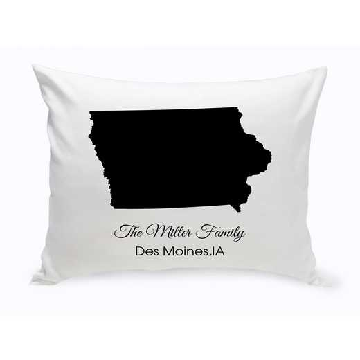 GC1380-IA: Blk Prsnlzed Home St.ThrowPillow Iowa
