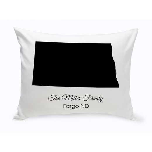 GC1380-ND: Blk Prsnlzed Home St.ThrowPillow NDakota