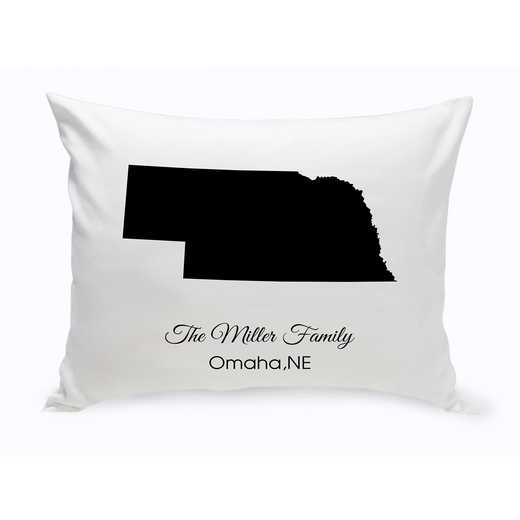 GC1380-NE: Blk Prsnlzed Home St.ThrowPillowNebraska