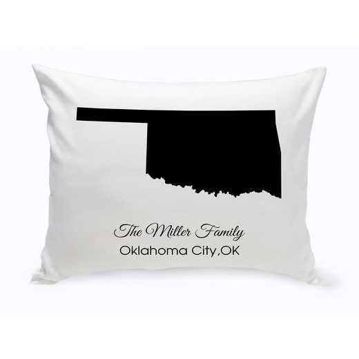 GC1380-OK: Blk Prsnlzed Home St.ThrowPillowOklahoma
