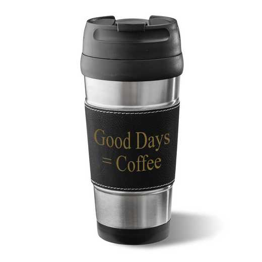 GC1362 Black: Personalized Faux Lther Wrapped Tumbler : Unisex