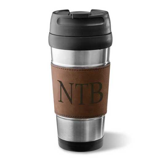 GC1362 Brown: Personalized Faux Lther Wrapped Tumbler : Unisex