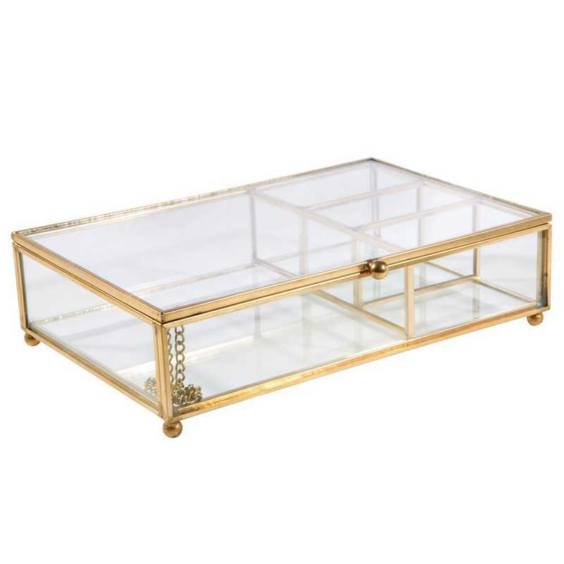 27151-GOLD: KEN Vintage 4 Compartment Keepsake Box in Gold