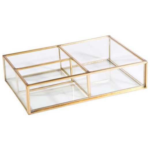 27154-GOLD: KEN  3 Compartment Keepsake Tray in Gold