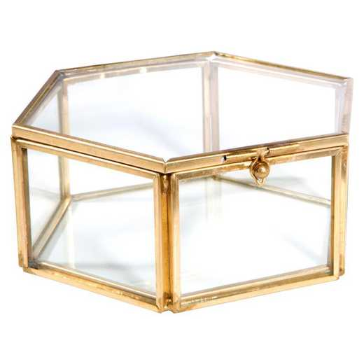 27155-GOLD: KEN Vintage Hexagon Glass Keepsake Box in Gold