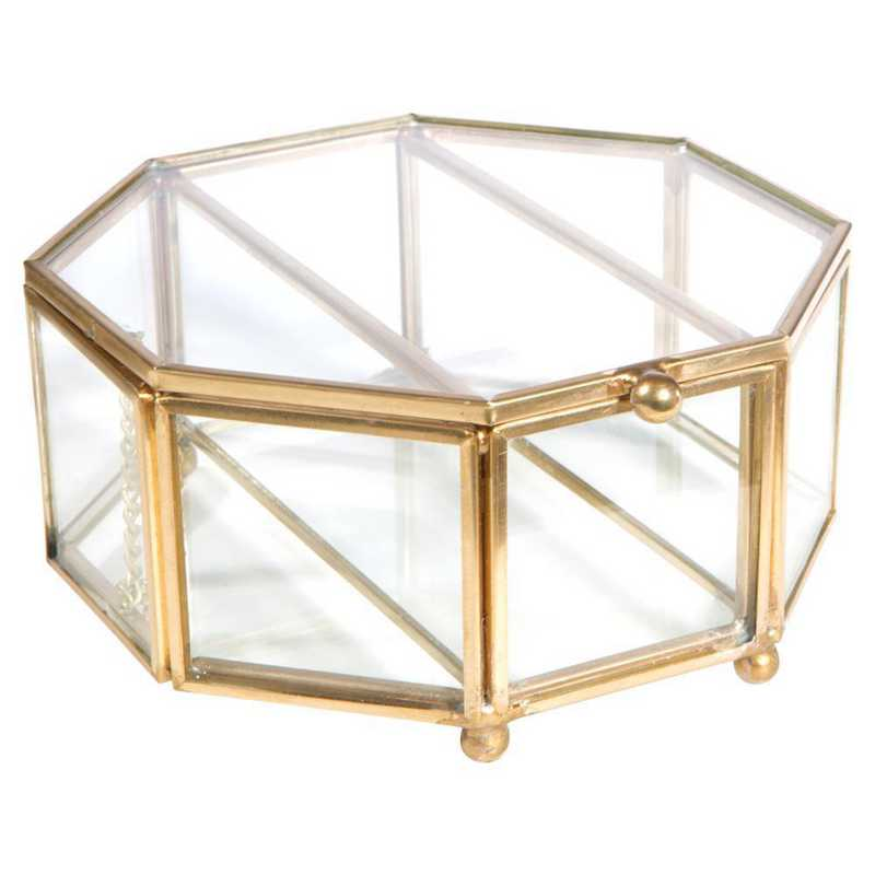 27156-GOLD: KEN  3 Compartment Octagon Glass Keepsake Box in Gold