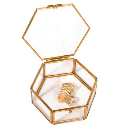 27157-GOLD: KEN Vintage Hexagon Laced Glass Keepsake Box in Gold