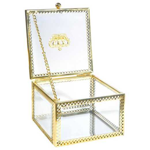 27158-GOLD: KEN Vintage Laced Glass Keepsake Box in Gold