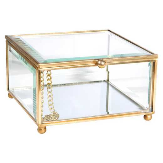 27159-GOLD: KEN  Vintage Mirrored Bottom Glass Keepsake Box in Gold