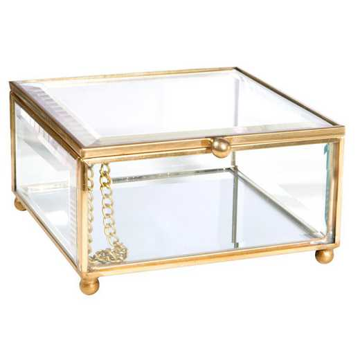 27162-GOLD: KEN Vintage Mirrored Bottom Keepsake Box in Gold