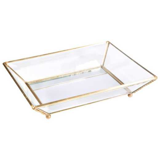 27164-GOLD: KEN Vintage Mirrored Bottom Glass Keepsake Tray in Gold